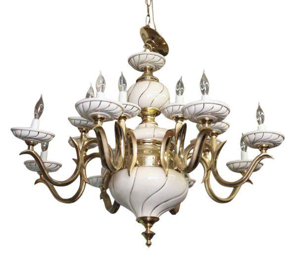 Italian White Porcelain & Brass Chandelier