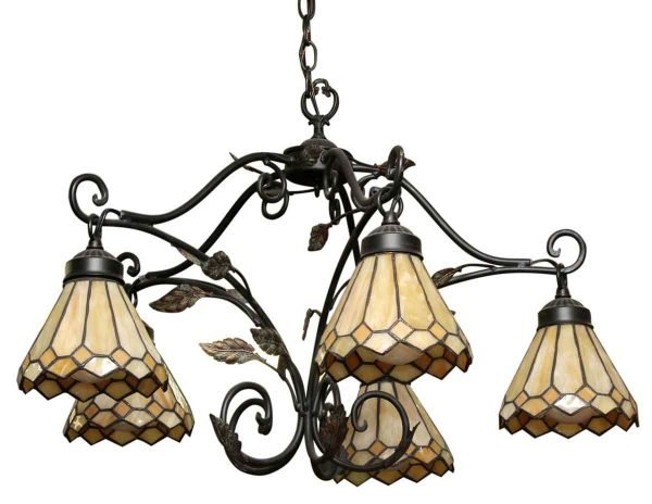 Five Light Stained Glass Down Chandelier