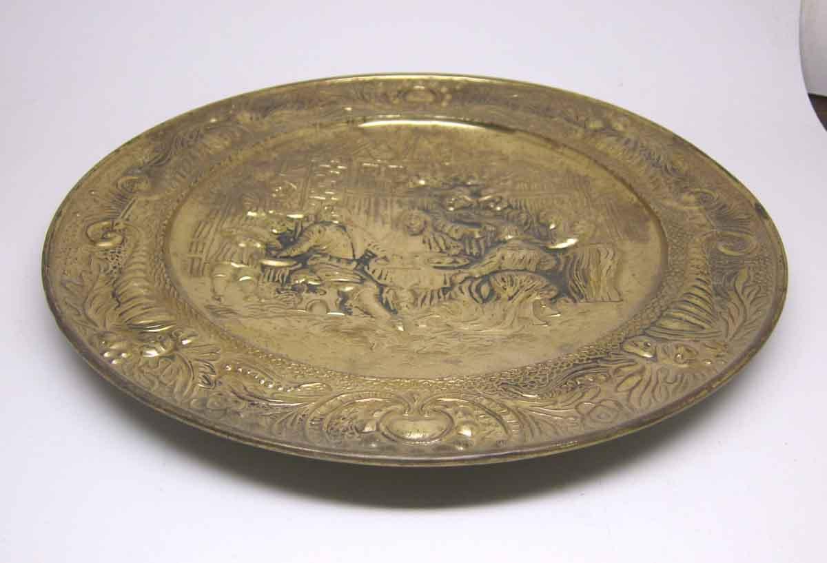 Brass Pilgrims Dinner Scene Plate Olde Good Things