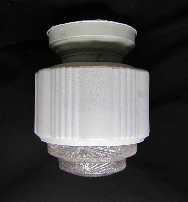 White Milk Glass Wedding Cake Flush Mount Fixture