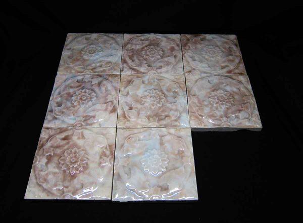 Floral Blue & Brown Raised Tile Set
