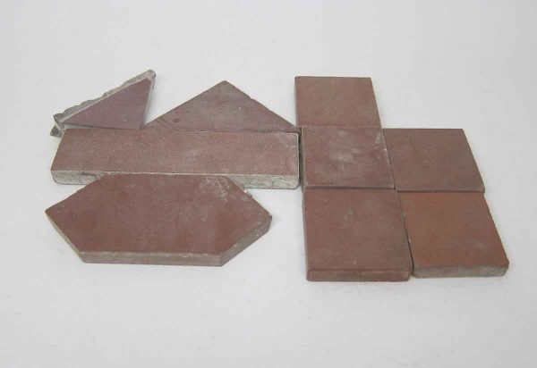 Set of Nine Red Matted Tiles