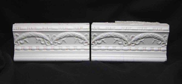 Pair of White Swag Trim Tiles