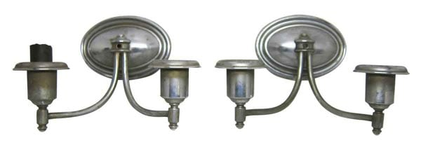 Pair of Nickel Traditional Style Sconces