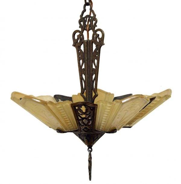 Art Deco Bronze Slip Shade Chandelier