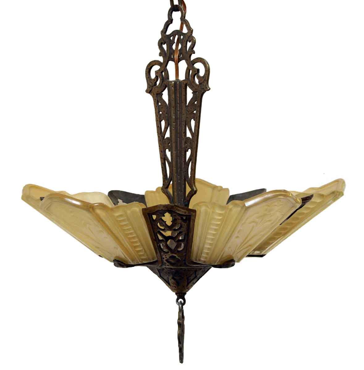 Art deco bronze slip shade chandelier olde good things art deco bronze slip shade chandelier aloadofball Gallery