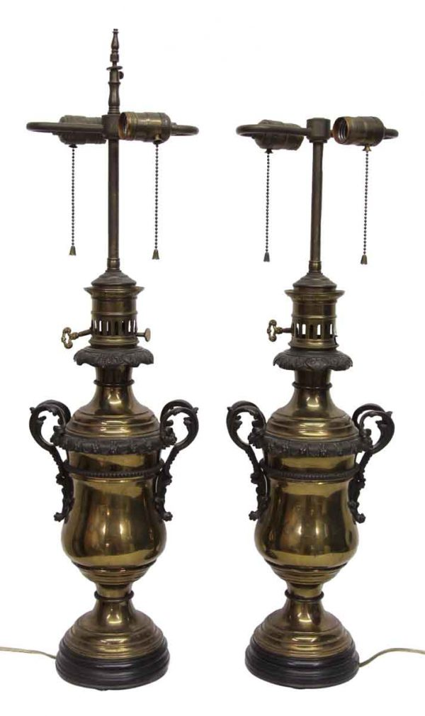 Pair of Brass Victorian Table Lamps