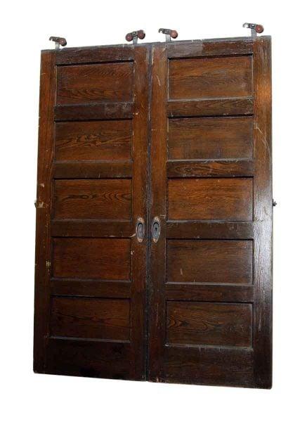 Pair of Five Panel Oak Pocket Doors