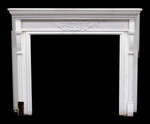 White Wooden Federal Salvage Mantel