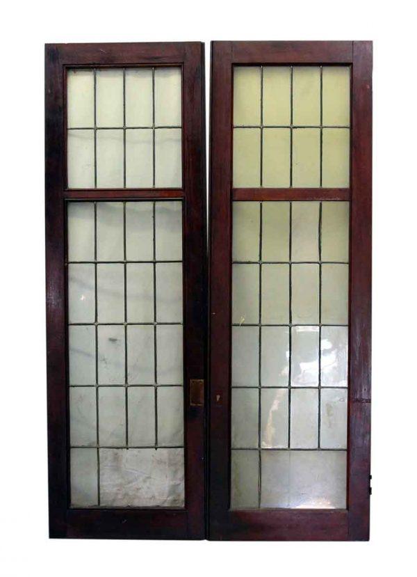 Set of Dark Red Wood Tone Windows