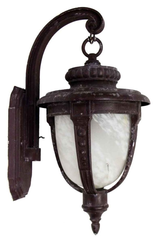 Cast Aluminum Exterior Lantern with Textured Glass Shade