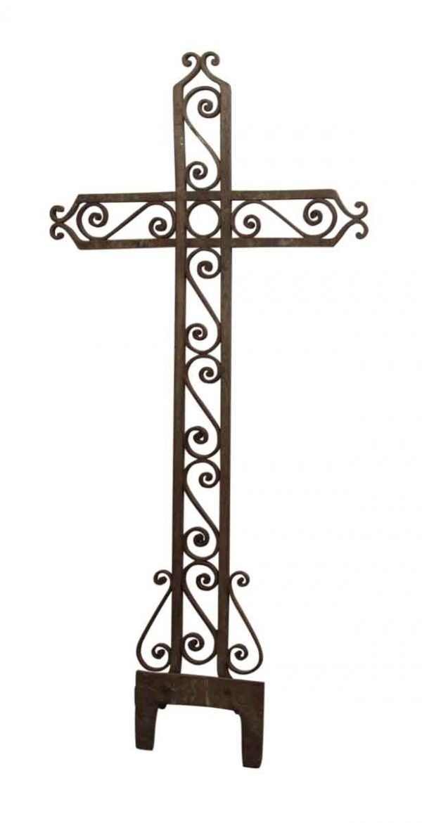 Wrought Iron Cross with Scrolling Detail