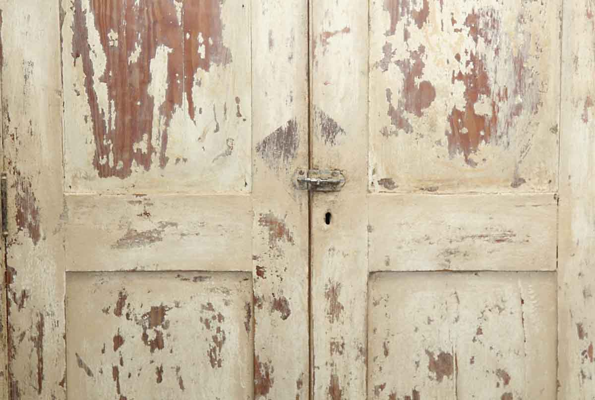 Distressed Finish White Wood Cabinet