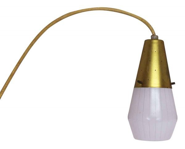 Mid Century Gold Pinstriped Glass Pendant Light