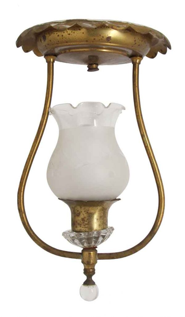 Brass Up Light Ceiling Fixture with Glass Shade