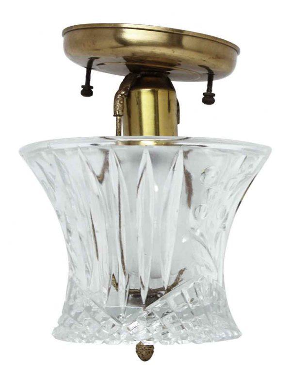 Etched Cut Glass Brass Light Fixture