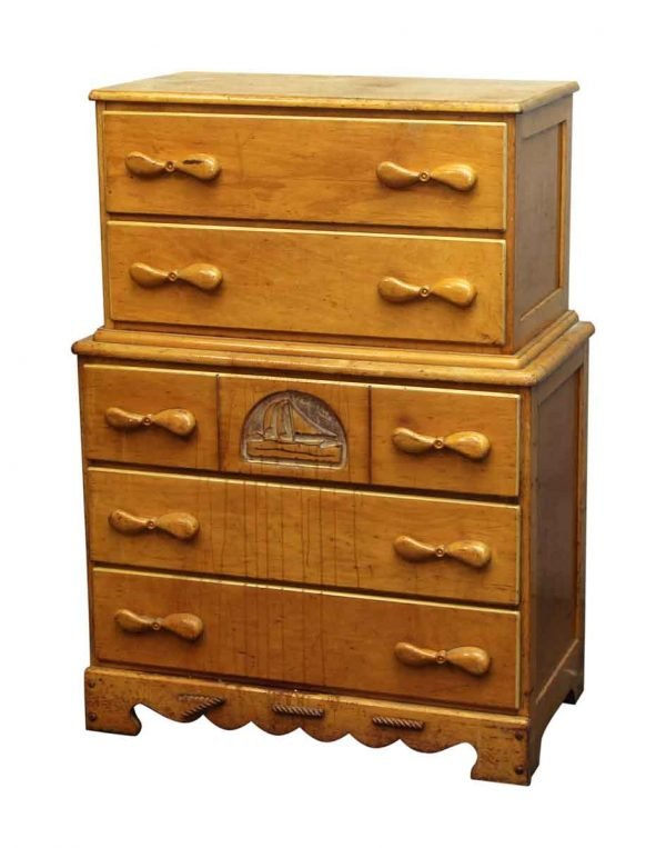 Maple Childrens Highboy Dresser with Boat Motif