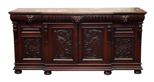Beautiful Carved Mahogany Wooden Figural Sideboard