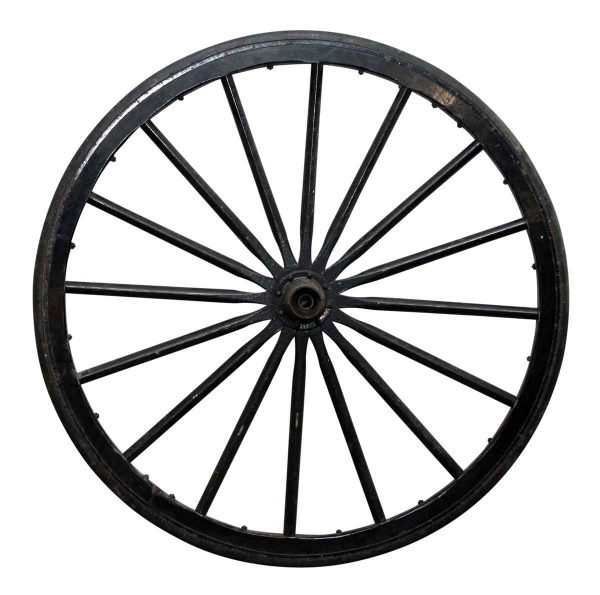 Black Cast Iron Rubber Lined Carriage Wheels