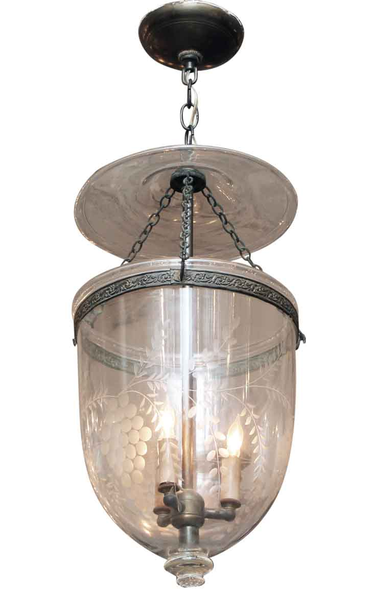 Etched Clear Gl Bell Jar Pendant Light