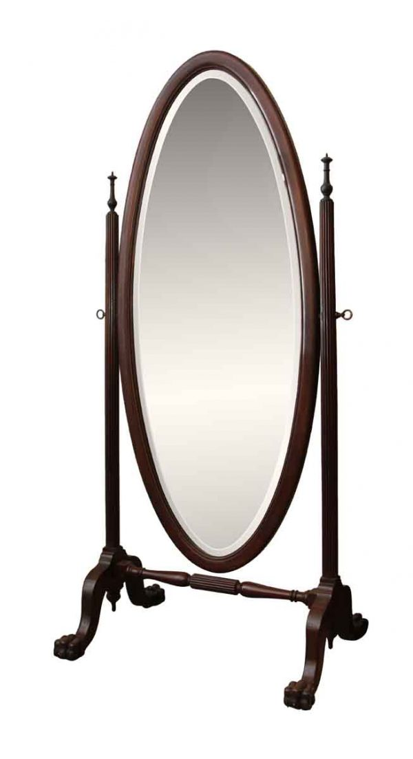 Cheval Mirror with Beveled Glass with Claw Feet