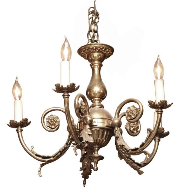 Brass Five Arm Petite Classical Chandelier