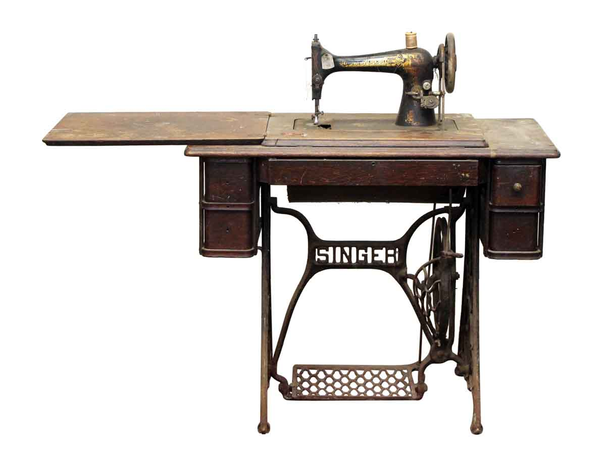 1914 Singer Treadle Egyptian Sphinx Motif Sewing Unit