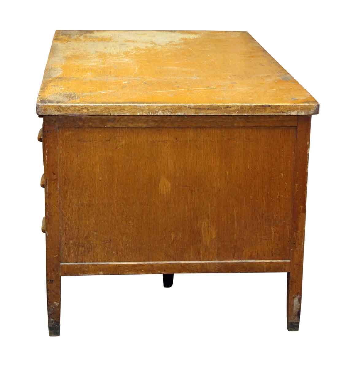 oak office table. Interesting Office Worn Six Drawer Oak Office Desk Throughout Table