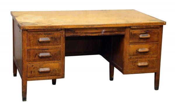Worn Six Drawer Oak Office Desk