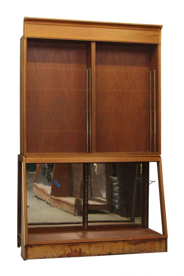 1940s Wooden Showcase with Mirrored Bottom