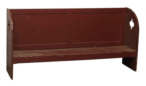 Red Painted Tiger Oak Wood Cutout Bench