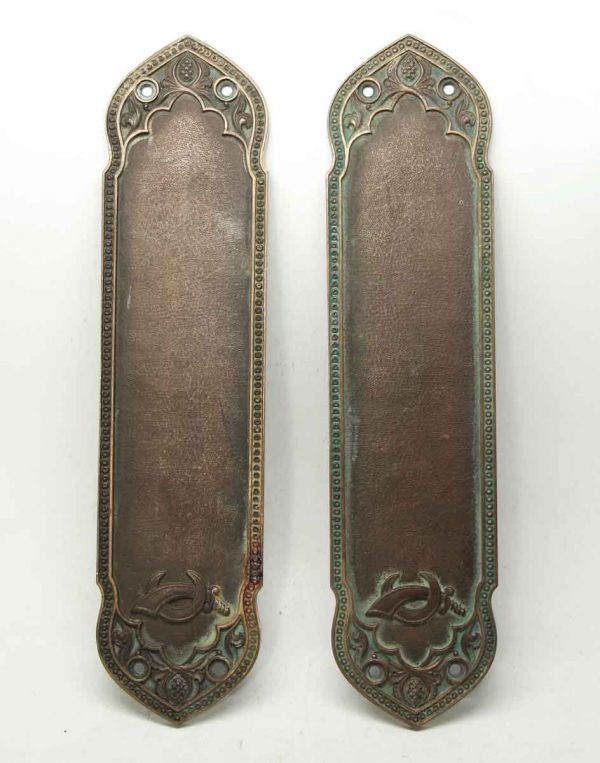 Pair of Bronze Yale Signed Ornate Push Plates