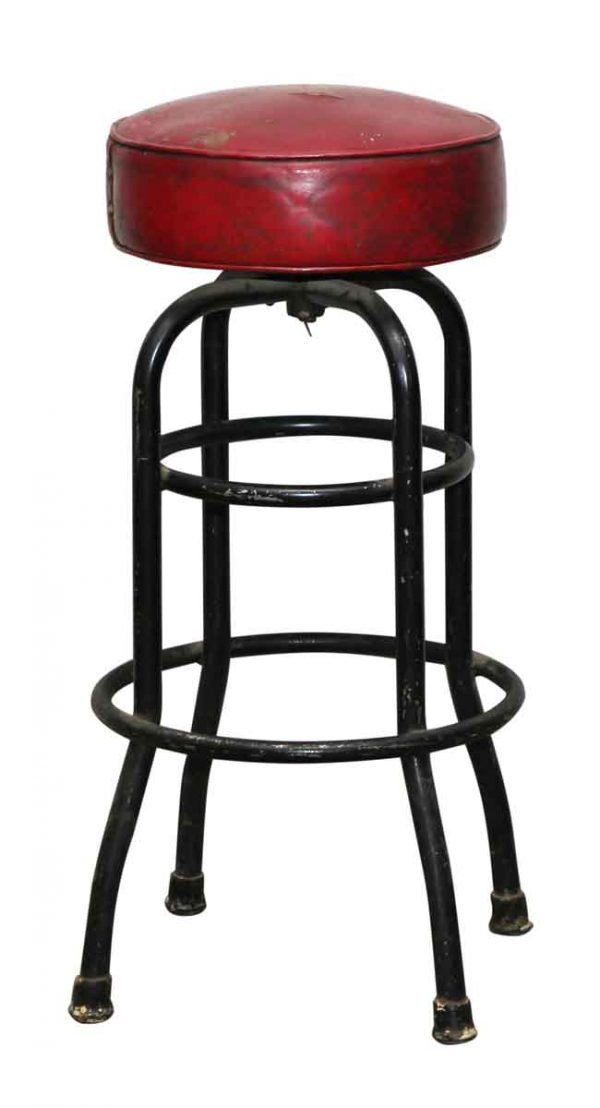 Red Leather Stool