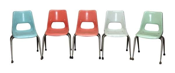 Set of Five Multi Color Plastic Chairs