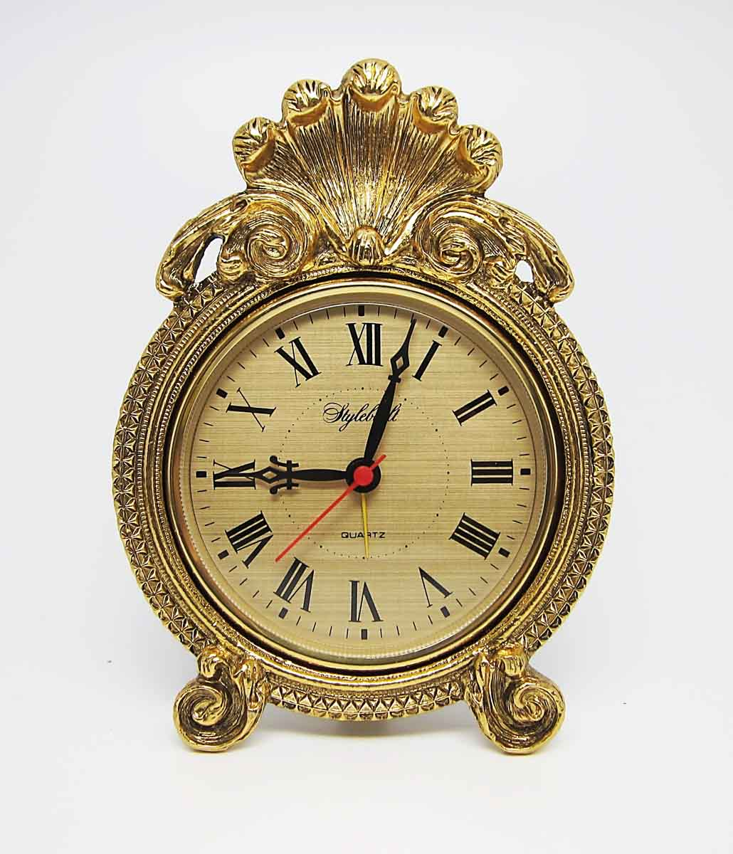 Antique Rococo Style Desk Clock with Shell Design - Antique Rococo Style Desk Clock With Shell Design Olde Good Things