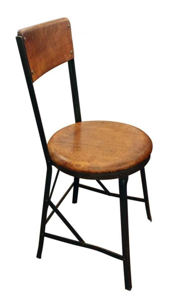 Metal & Wood Factory Stool with Back