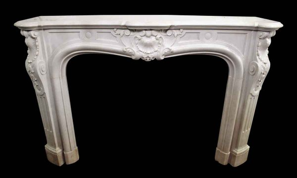 Louis XV White Marble Mantel