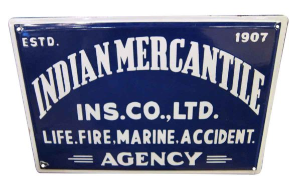 Blue & White Indian Mercantile Sign