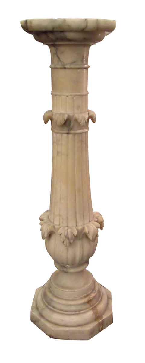 Carved Tan Marble Pedestal