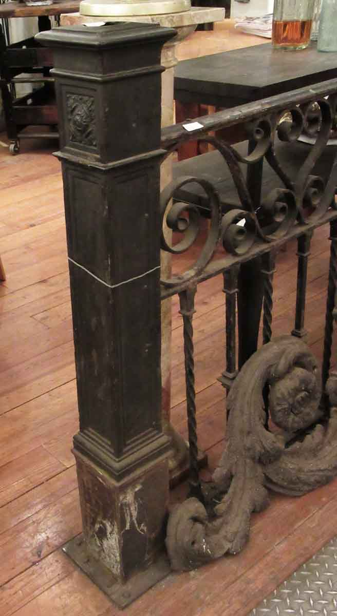 Cast iron newel post with simple floral detail olde good