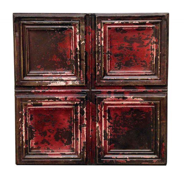 Squares Burgundy Tin Panel