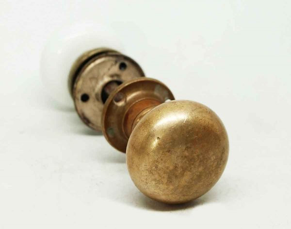 Milk Glass Fixed Base Knob with Bronze Knob and Rosette