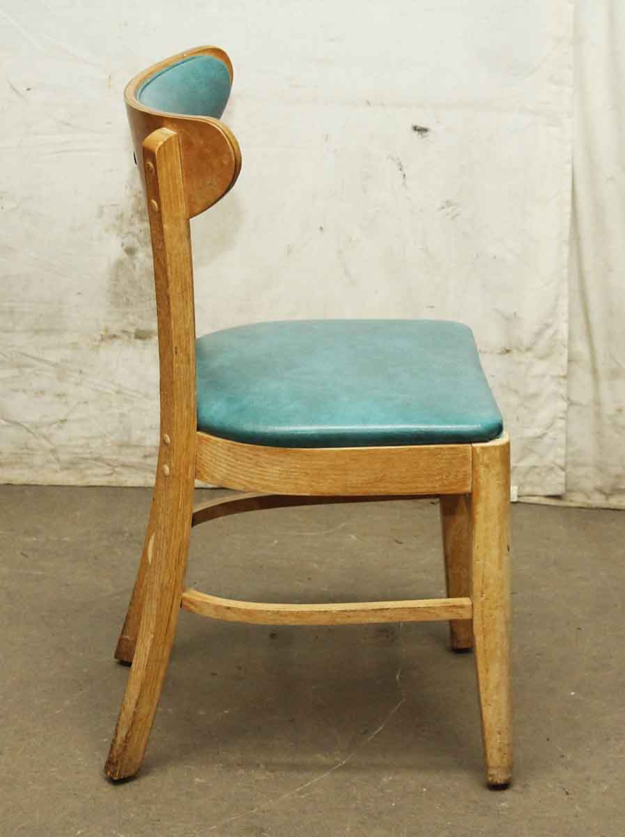 Light Wood Frame Chair with Teal Upholstery   Olde Good Things