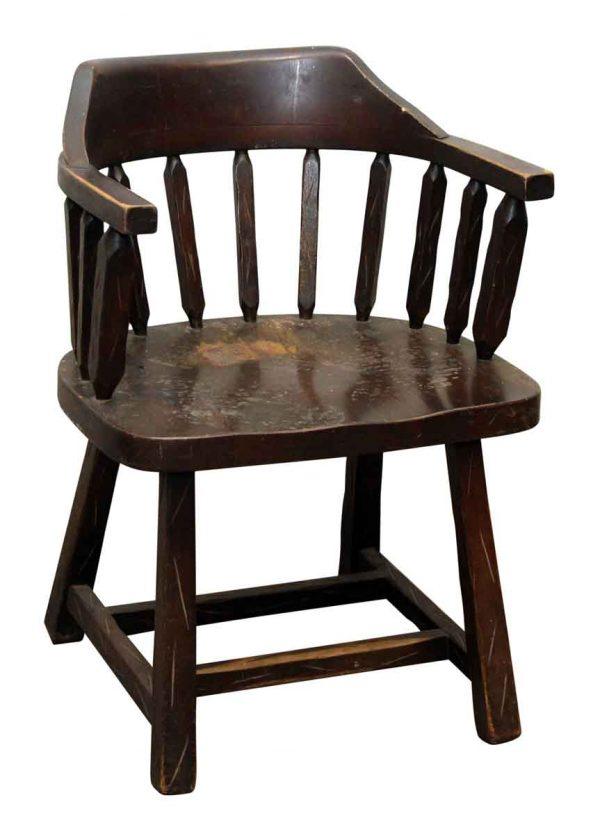 Single Dark Wood Captains Chair