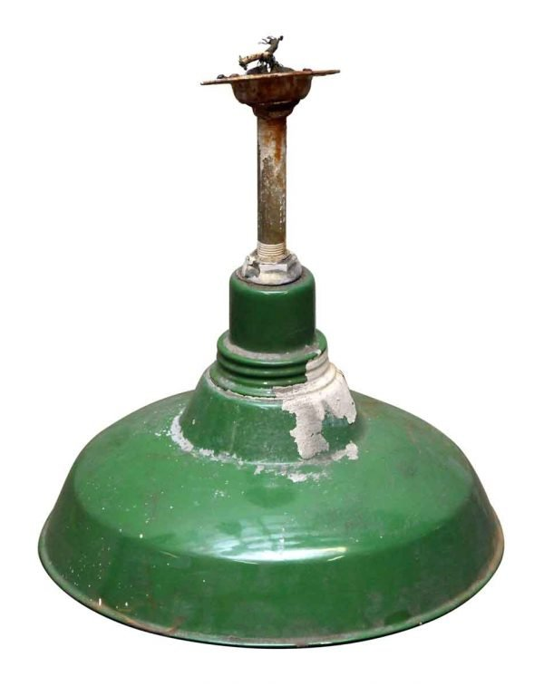 Green Metal Shade Pole Pendant Fixture
