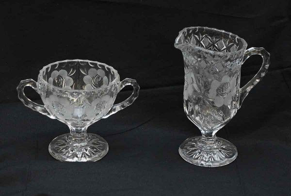 Pair of Floral Etched Glass Creamer & Dessert Bowl