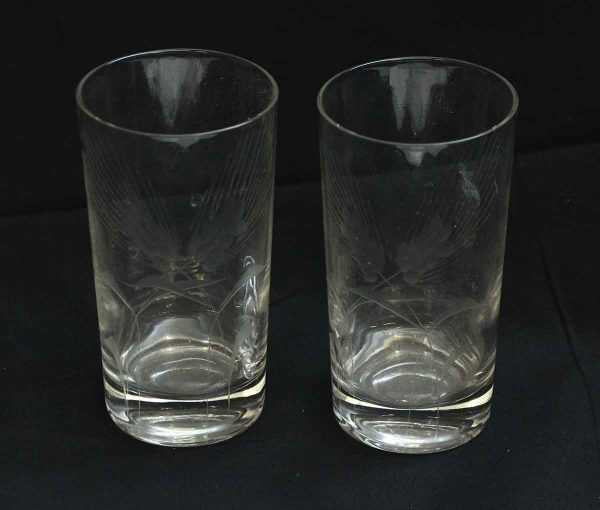 Pair of Etched High Ball Glasses