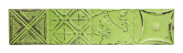 Lime Green Mixed Pattern Tin Panel