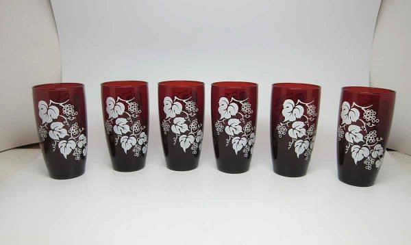 Set of Six Fruit Detail Glass Cups