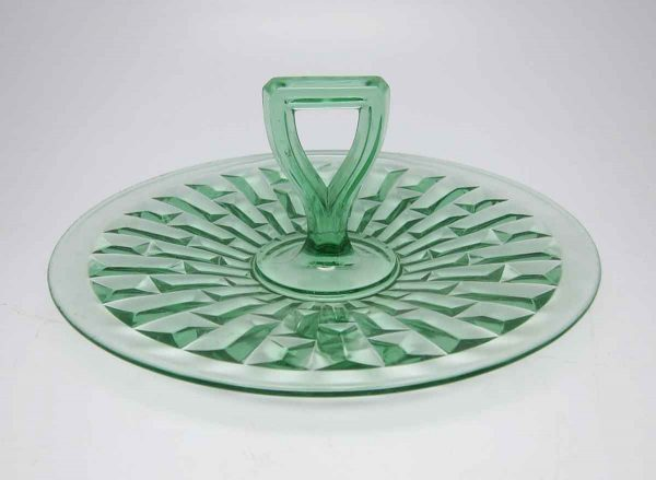 Green Desert Plate with Handle